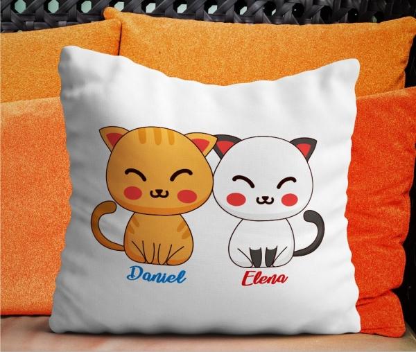 Perna Personalizata Cuplu - Pisici + Nume [0]