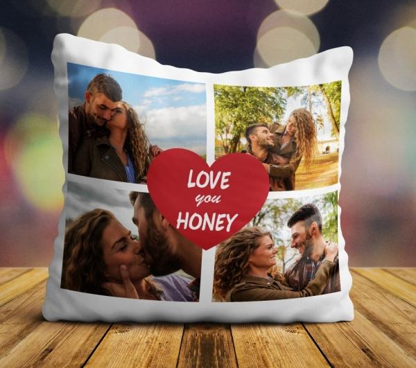 Perna personalizata - I love you honey cu 4 poze [0]