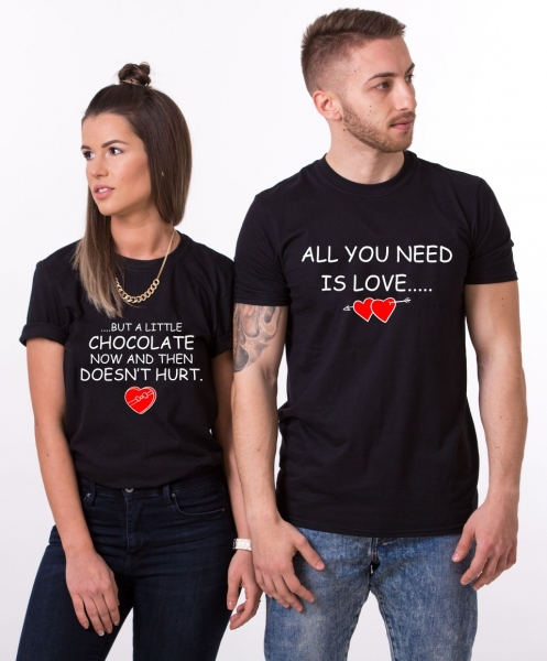 Tricouri Cuplu Personalizate - All you need is Love and Chocolate 1