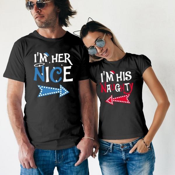 Tricouri Cuplu Craciun Personalizate - Naughty And Nice [1]