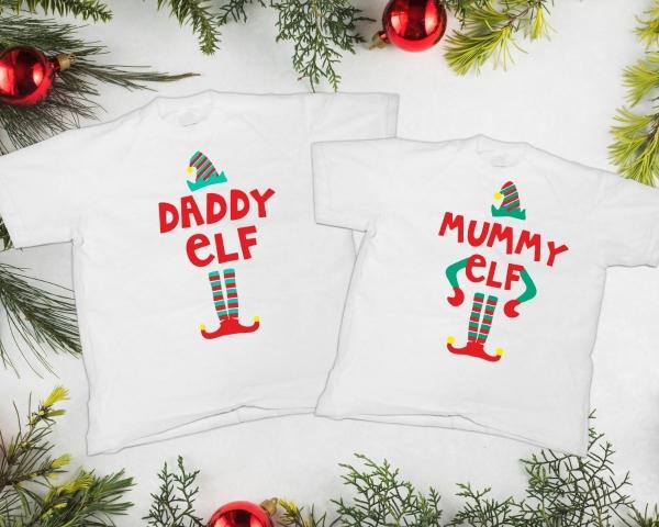 Tricouri Cuplu Craciun Personalizate - Mommy And Daddy Elf 1