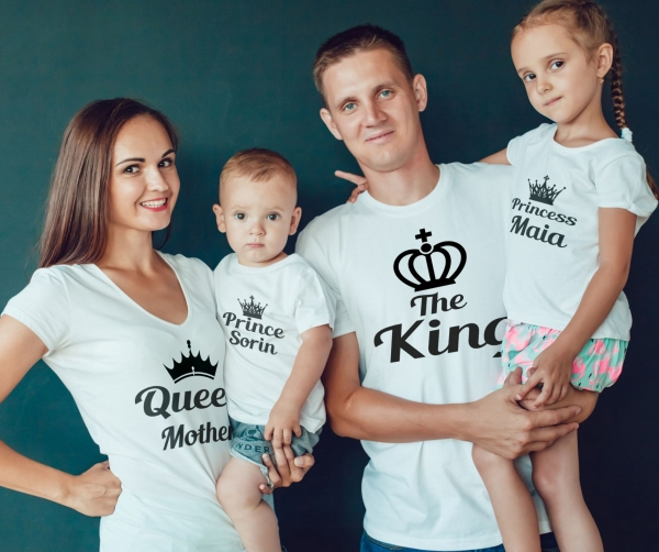 Set Tricouri Personalizate Familie - King Queen And Kids 0