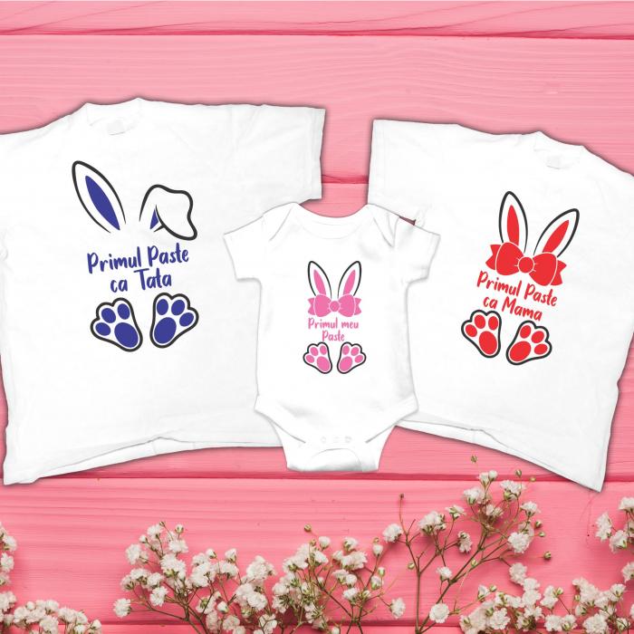 Set Tricouri Personalizate Familie - Primul Paste Ca Mama - Tata 0