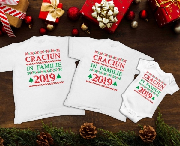 Set Tricouri Personalizate si Body - Craciun In Familie 2 0