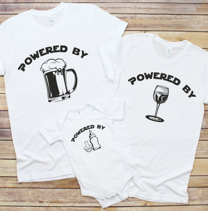 Set Tricouri Personalizate Si Body - Powered by milk, whine and beer [0]