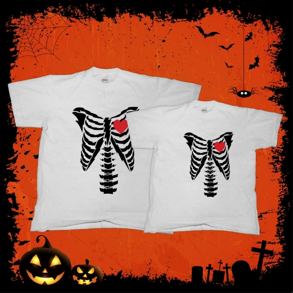 Tricouri Cuplu Personalizate Halloween - Skeleton Love 0
