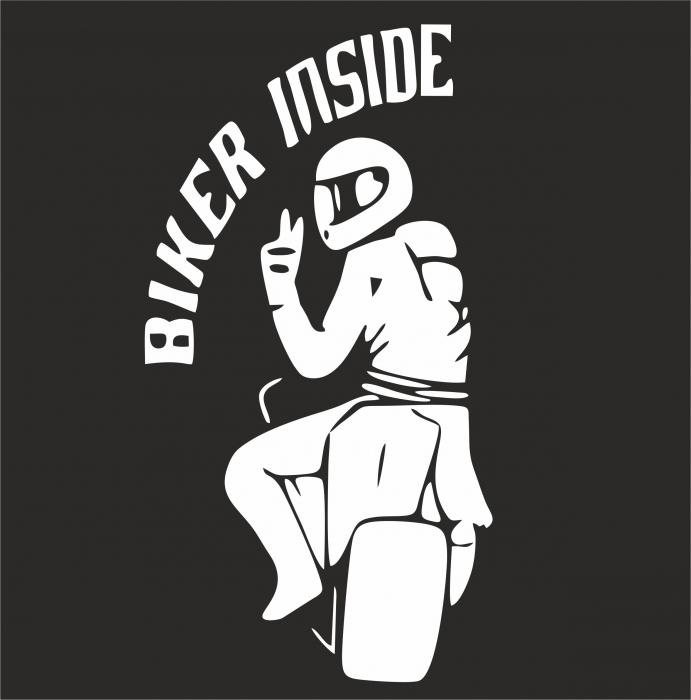 Sticker Auto - Biker Inside [1]