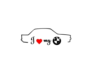 Sticker Auto I Love My BMW 2 [0]