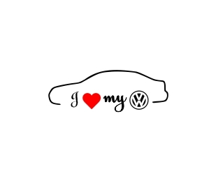 Sticker Auto I Love My VW 0