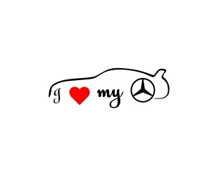 Sticker Auto I Love My Mercedes 0