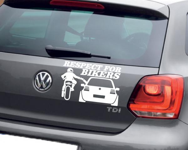 Sticker Auto - Respect for Bikers 0