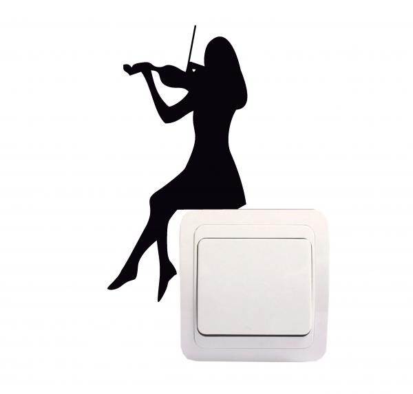 Sticker Decorativ Intrerupator - Fata cu vioara 0