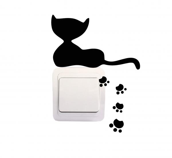Sticker Decorativ Intrerupator - Pisica si urme [0]