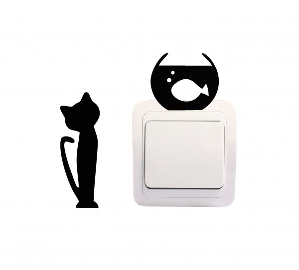 Sticker Decorativ Intrerupator - Pisica si acvariu 2 0
