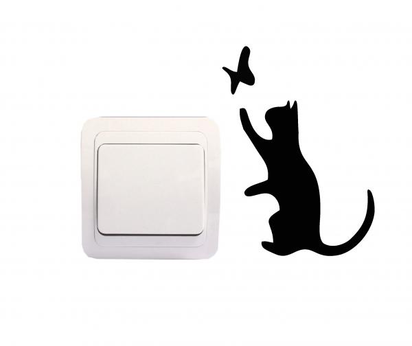Sticker Decorativ Intrerupator - Pisica si fluture [0]
