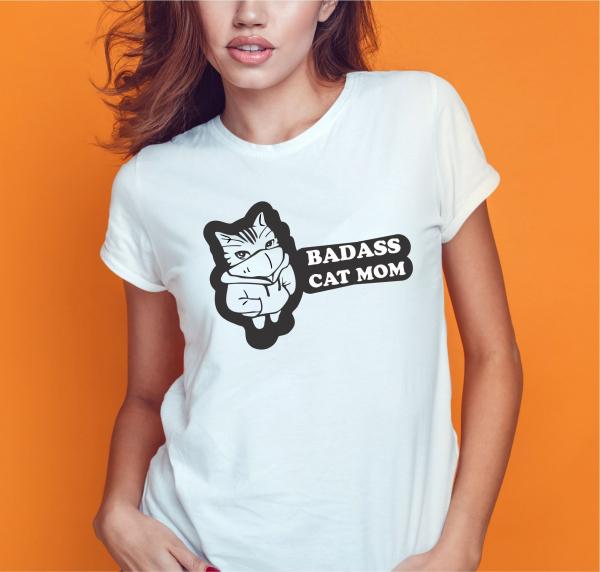 Tricou Personalizat - Badass Cat Mom - Copie 0