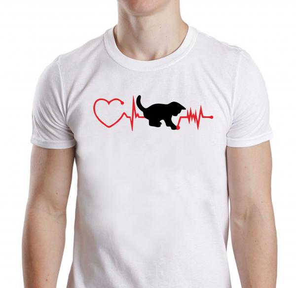 Tricou Personalizat - Cat And Heartbeat 0