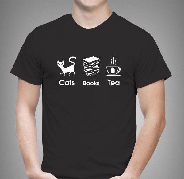 Tricou Personalizat - Cats, Books And Tea 1