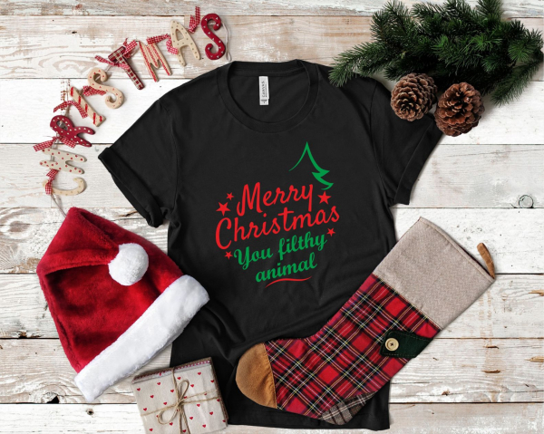 Tricou Personalizat Craciun - Merry Christmas You Filthy Animal 1