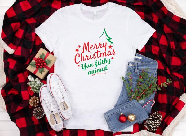 Tricou Personalizat Craciun - Merry Christmas You Filthy Animal 0