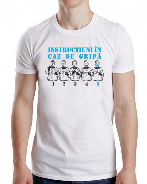 Tricou Personalizat #stamacasa - Instructiuni In Caz De Gripa 0