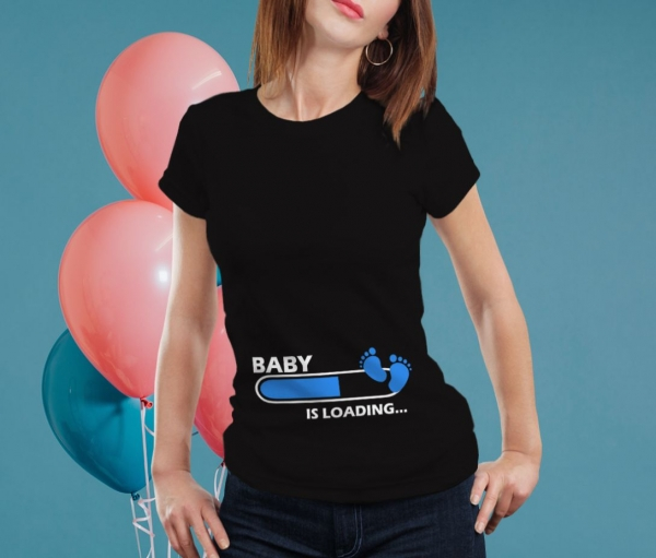 Tricou Personalizat Mamica - Baby Is Loading Baietel 1