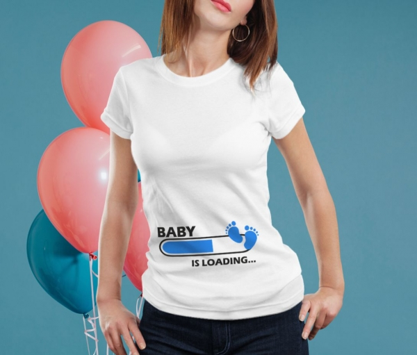 Tricou Personalizat Mamica - Baby Is Loading Baietel 0