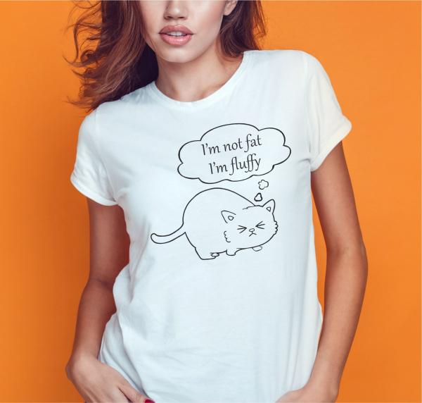 Tricou Personalizat Pisici - I'm Not Fat I'm Fluffy 0