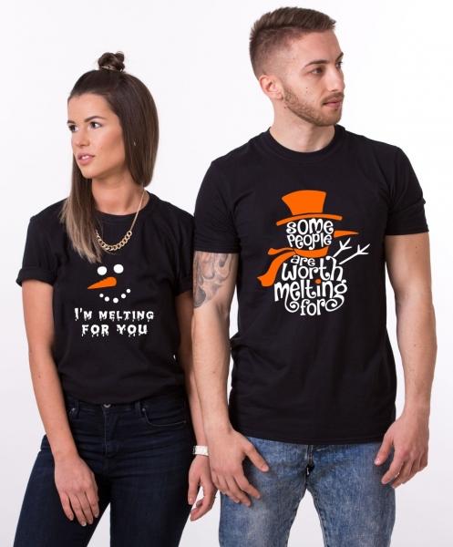 Tricouri Cuplu Craciun Personalizate - Melting For You 0
