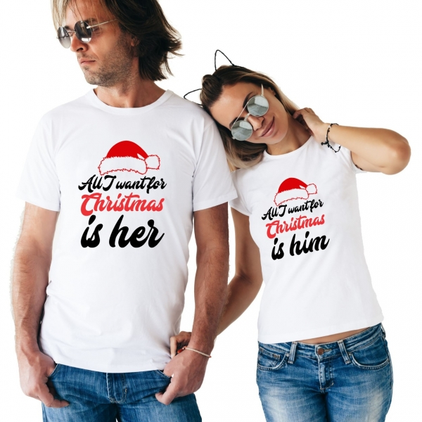 Tricouri Cuplu Personalizate - All I want for Christmas Is Him/Her 0