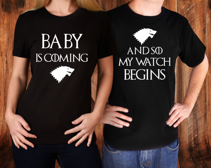 Tricouri cuplu personalizate -  Baby Is Coming And So My Watch Begins [1]