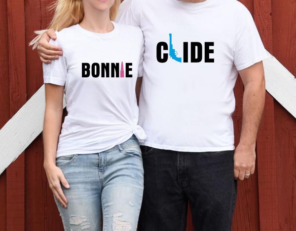 Tricouri Cuplu Personalizate - Bonnie And Clide 1