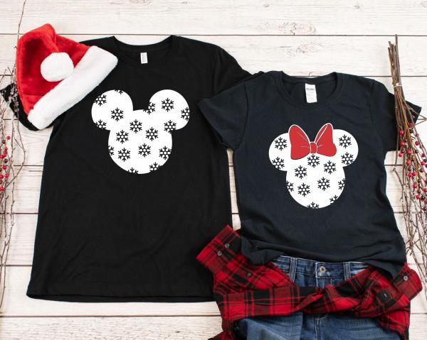 Tricouri Cuplu Personalizate Craciun - Mickey And Minnie 0