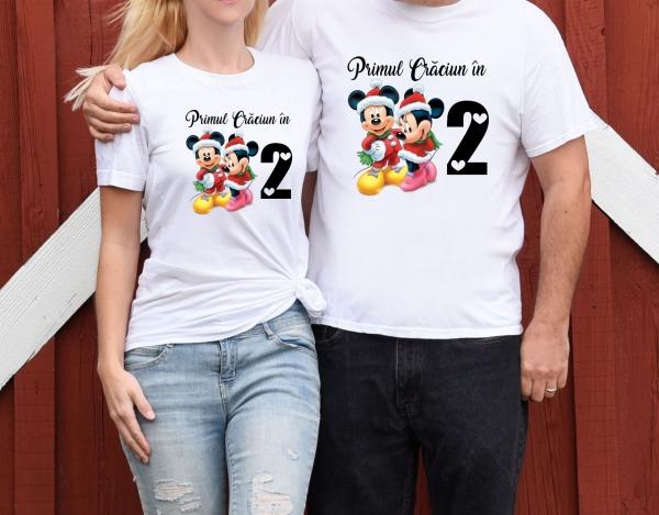 Tricouri Cuplu Personalizate Craciun - Primul Craciun In 2 0