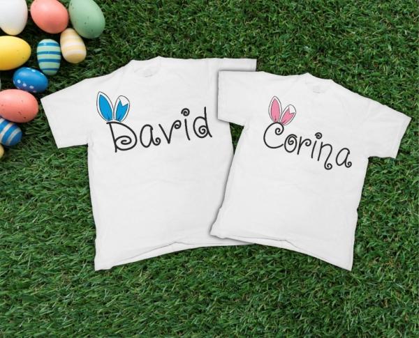 Tricouri Cuplu Personalizate de Paste cu nume si urechi 3 0