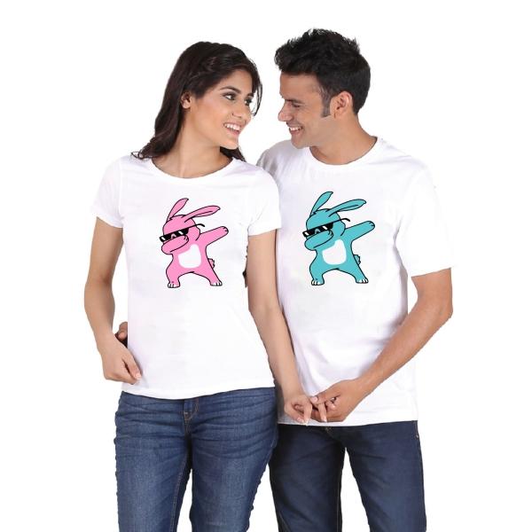Tricouri Cuplu Personalizate de Paste - Iepurasi Cool Dab 1