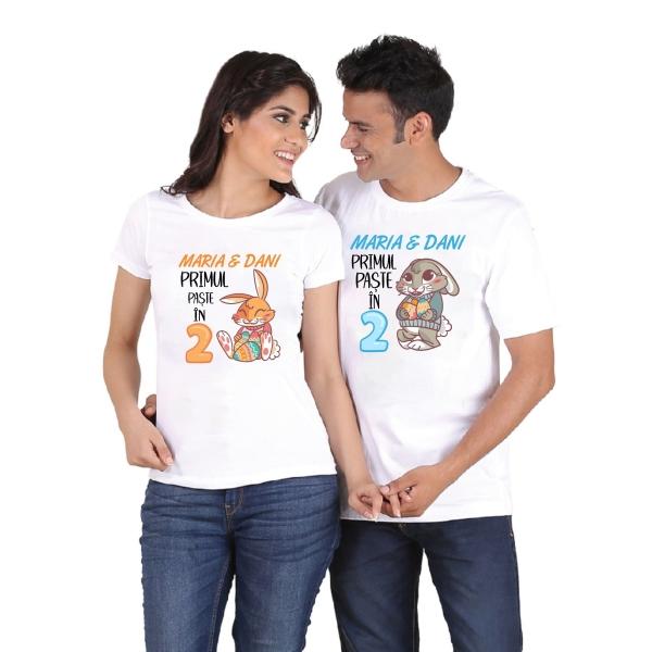 Tricouri Cuplu Personalizate de Paste - Primul Paste in 2 1