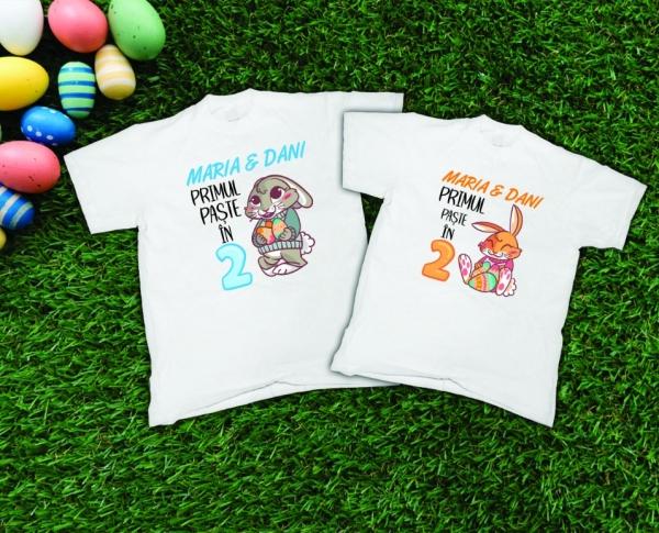 Tricouri Cuplu Personalizate de Paste - Primul Paste in 2 0