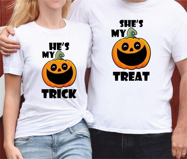 Tricouri Cuplu Personalizate Halloween - My Trick, My Treat 0
