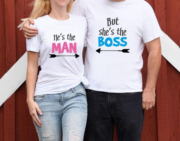 Tricouri Cuplu Personalizate - He's The Man But She's The Boss 1
