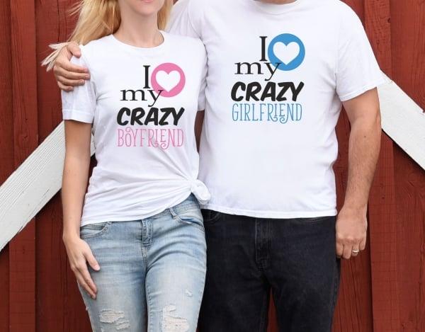 Tricouri Cuplu Personalizate - I love My Crazy Boyfriend / Girlfriend 1