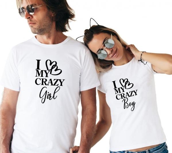 Tricouri Cuplu Personalizate -  I love my crazy boy / girl 1
