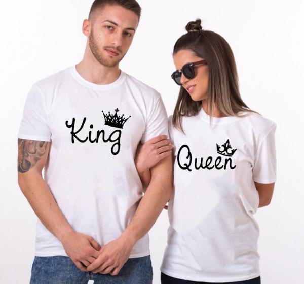 Tricouri Cuplu Personalizate - King and Queen 2 0