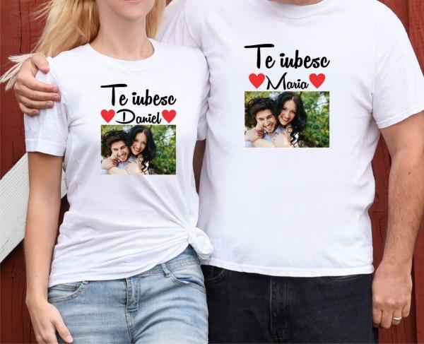 Set Tricouri Cuplu Personalizate - Te iubesc cu Nume si Poza [0]