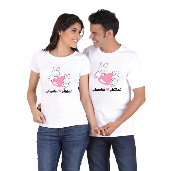 Set Tricouri Personalizate de Paste - Iepurasi Indragostiti cu nume 1