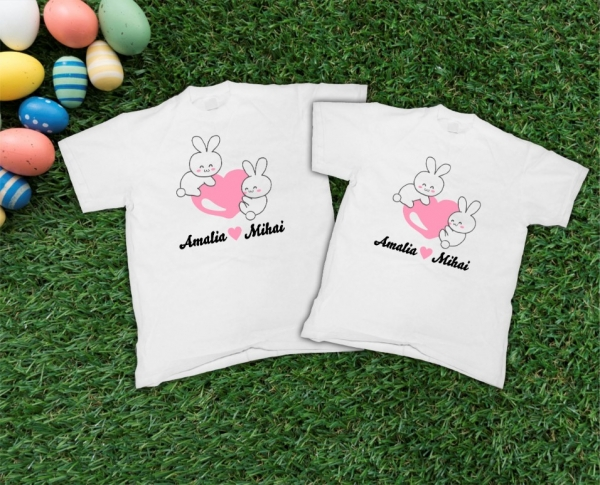 Set Tricouri Personalizate de Paste - Iepurasi Indragostiti cu nume 0