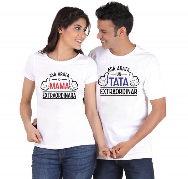 Tricouri Cuplu Personalizate - Asa Arata O Mama/ Un Tata Extraordinar [0]