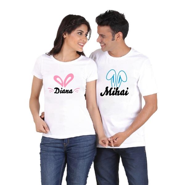 Tricouri Cuplu Personalizate de Paste cu nume si urechi [1]