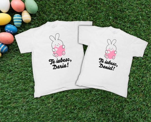Tricouri Personalizate de Paste - Iepurasi Indragostiti cu nume 2 0