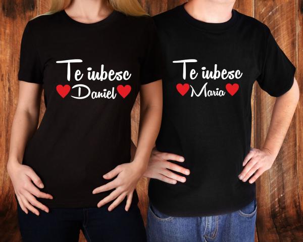 Tricouri Cuplu Personalizate - Te iubesc + Nume 1